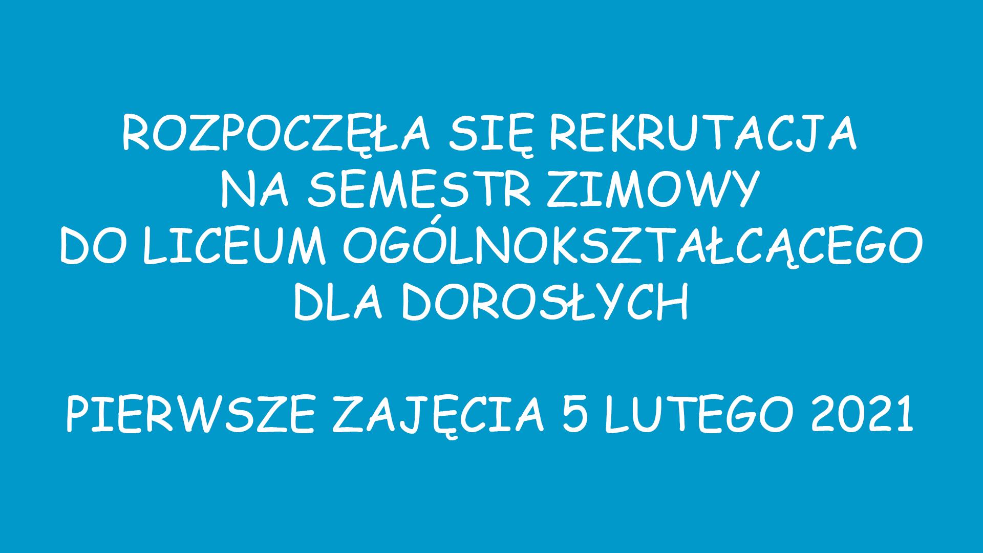 REKRUTACJA SEMESTR ZIMOWY
